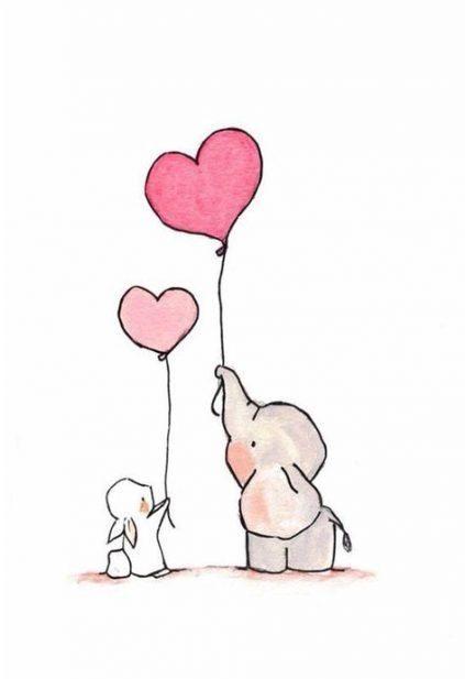 Love cute elephant drawing