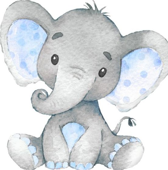 Nursery baby elephant painting
