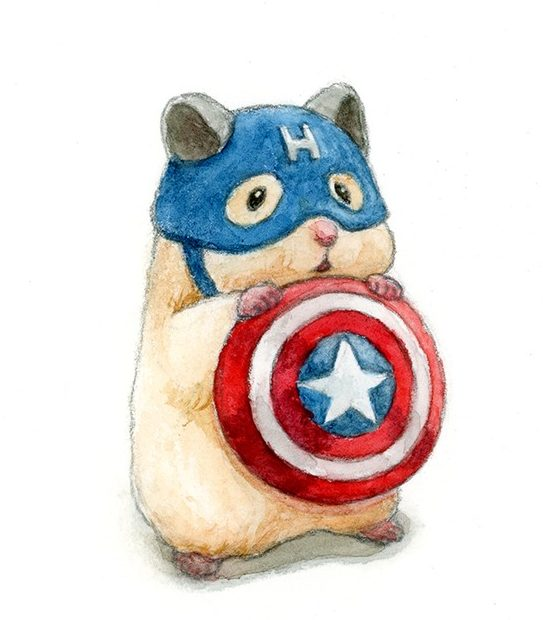 Realistic cute hamster drawing