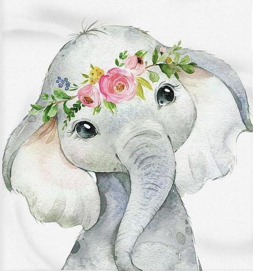 Watercolor cute drawing elephant