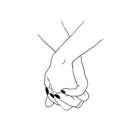simple aesthetic holding hands drawing