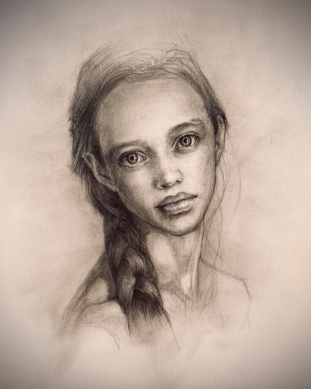 Woman beautiful portrait drawing