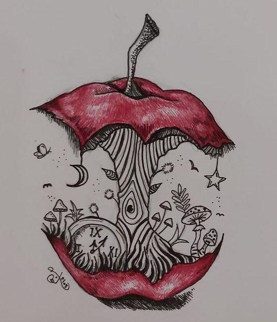 Drawing apple pencil art