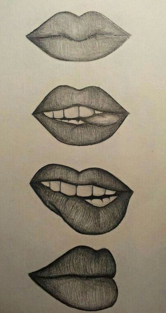 Lips pencil drawing step by step