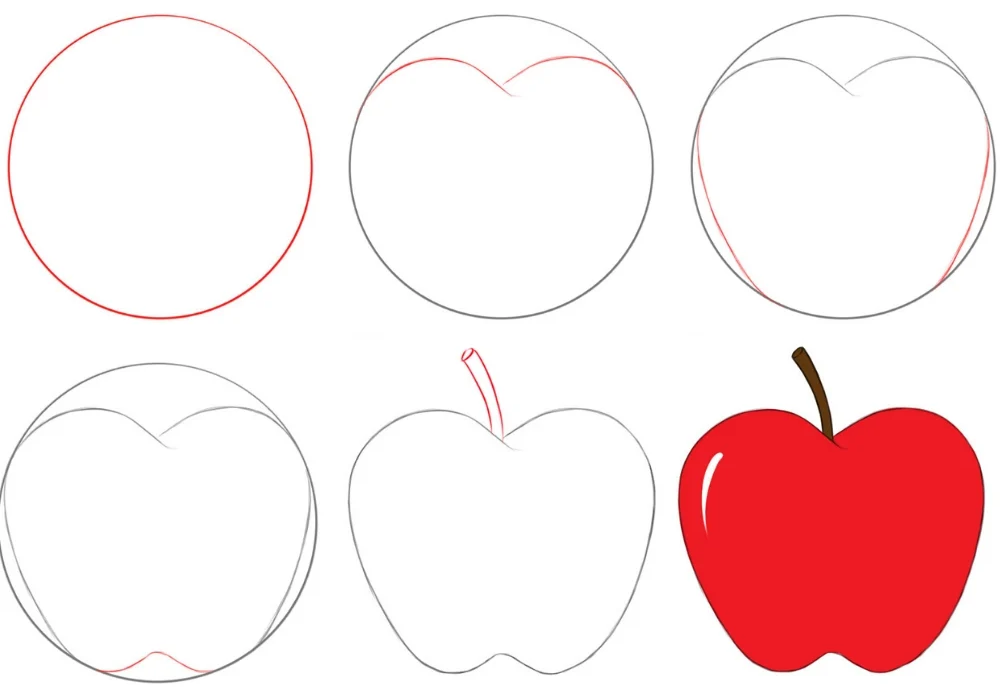 Apple drawing for kids step by step