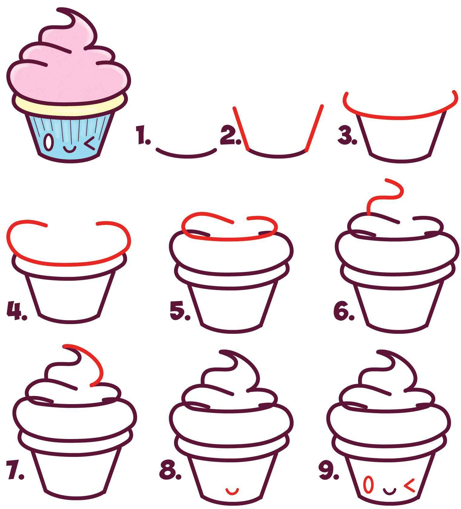 Cute easy cupcake drawing for kids
