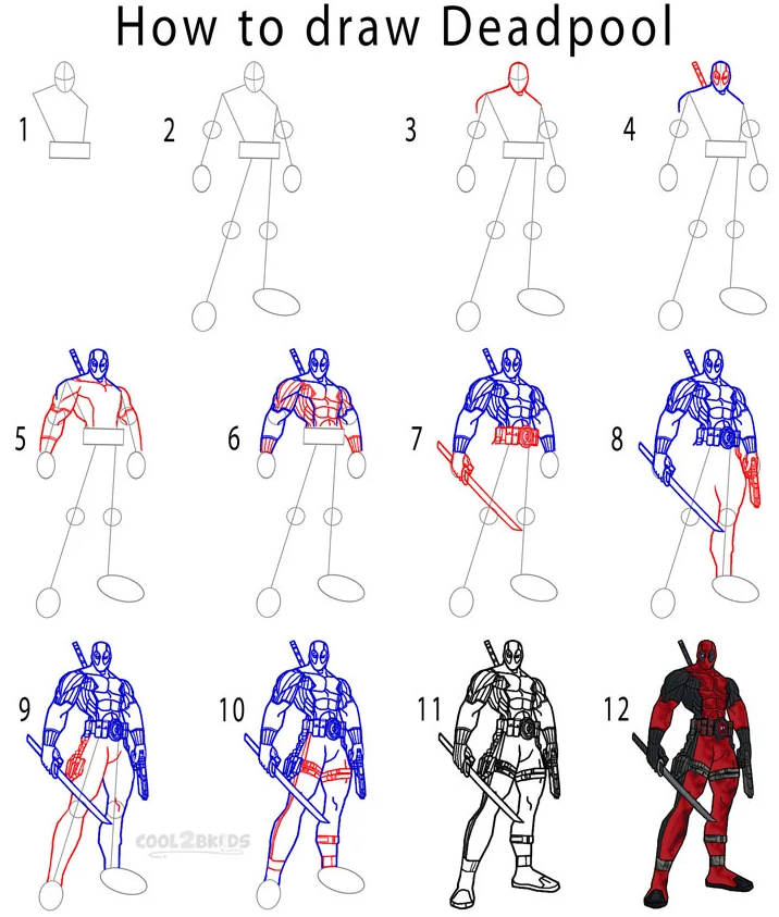 Deadpool drawing easy full body step by step