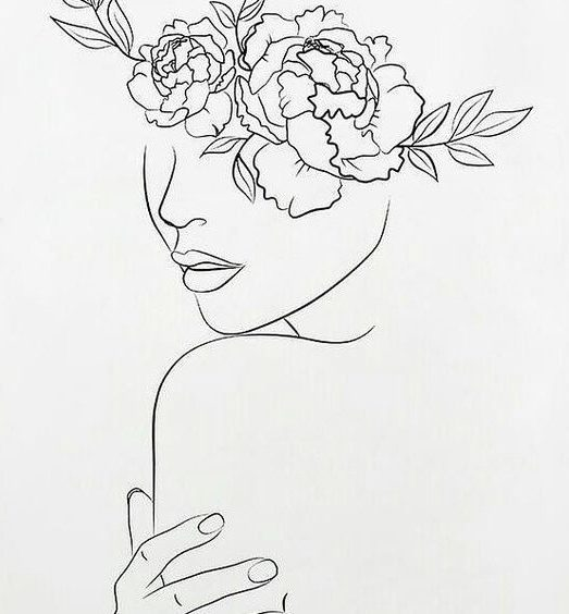 One line art woman