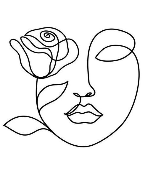 One line drawing face