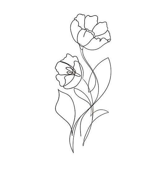 One line drawing flower
