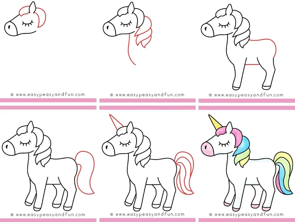 Unicorn drawing for kids step by step