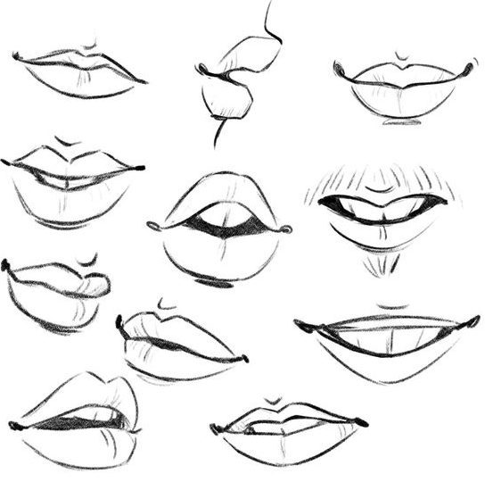 How to draw lips cartoon