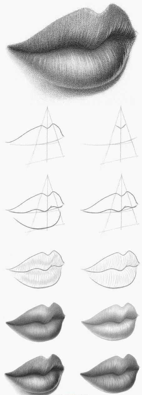 Pencil how to draw lips