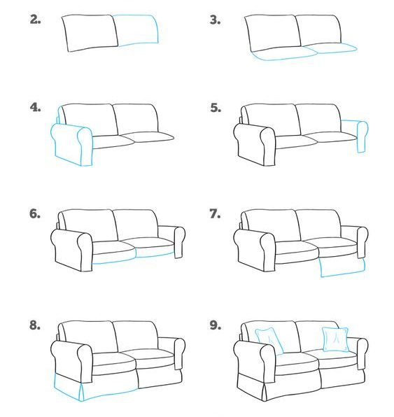 cartoon couch drawing easy
