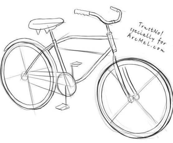 drawing bicycle step by pencil