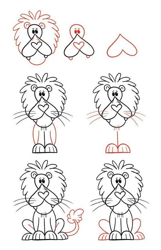 drawing cartoon lion