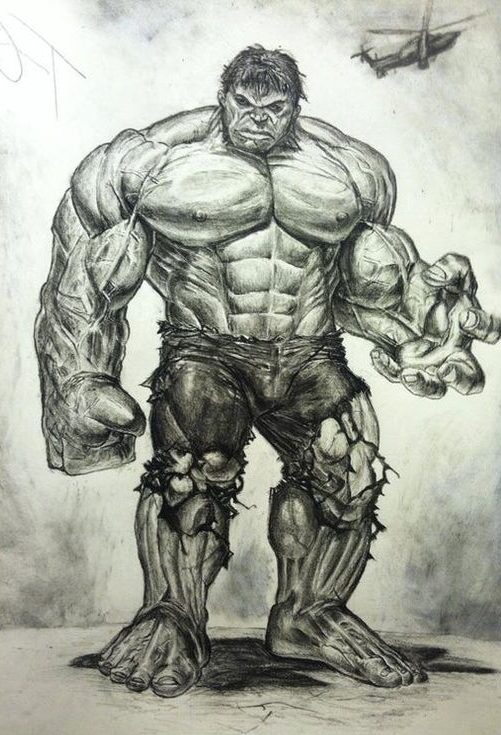 easy full body hulk drawing