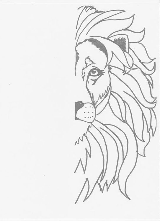 easy how to draw a lion face