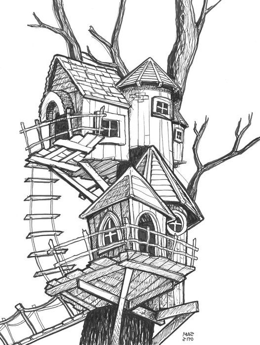 easy sketch house drawing