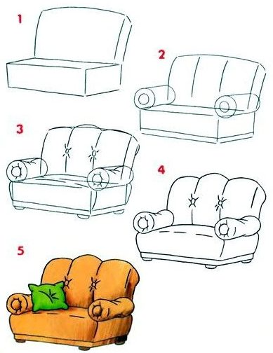 easy step how to draw a couch
