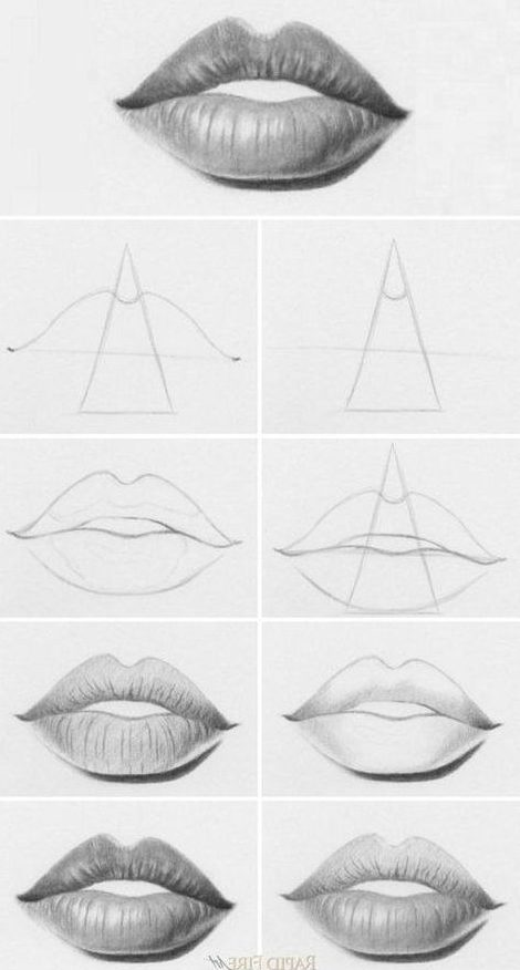 Easy step how to draw lips