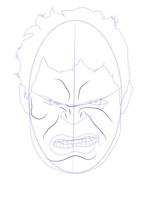 face hulk drawing
