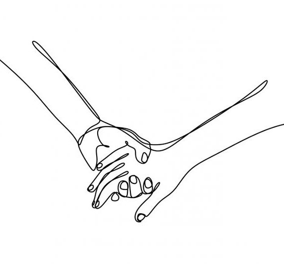holding hands drawing