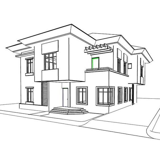 house drawing 3d