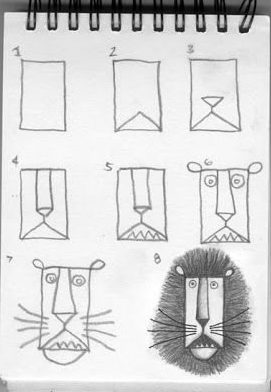 how to draw a lion face step by step easy for kids