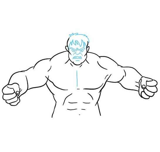 hulk drawing easy step by step