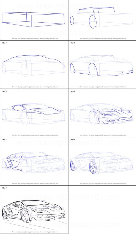 lamborghini how to draw a car step by step