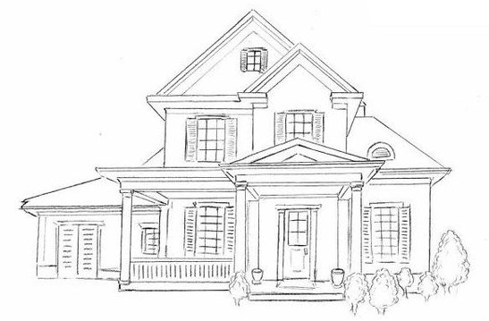 modern easy house drawing