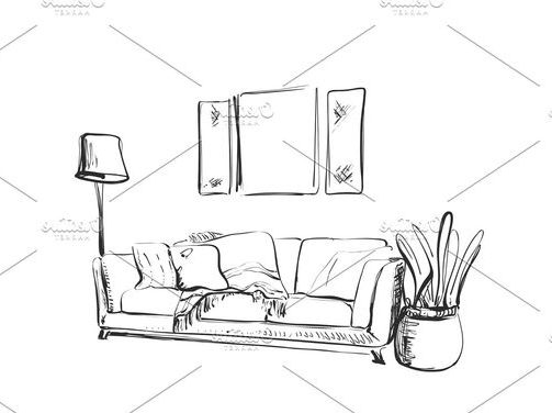 modern sofa sketch