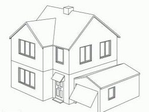 simple 3d house drawing