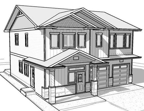 sketch 3d house drawing