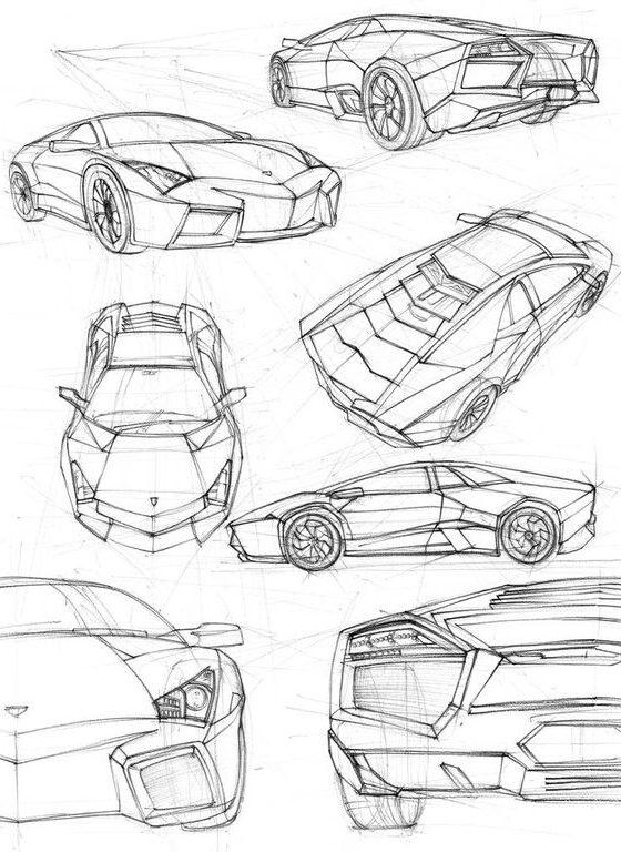 sketch lamborghini car drawing