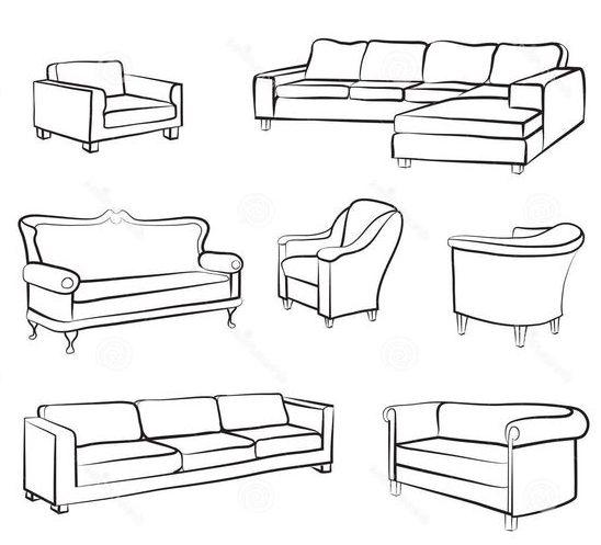 sketch single sofa drawing