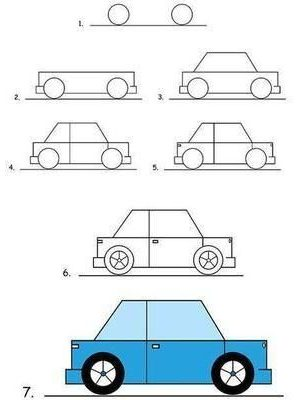 step kids how to draw a car